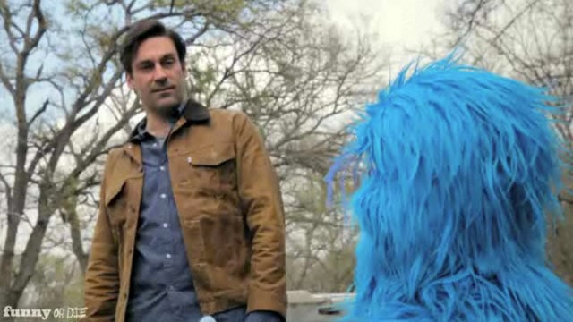 Jon Hamm Takes Road Trip With Muppet Hitchhiker