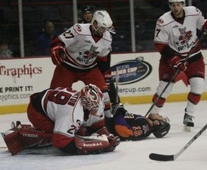 Minor League Goalie Peppered With Pucks, Surrenders