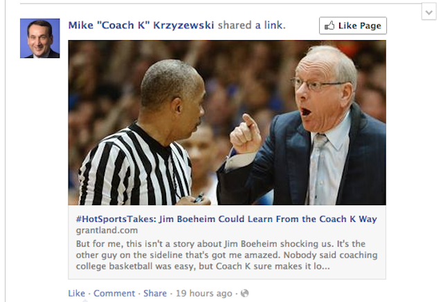 Coach K's Facebook Presence Does Not Come With A Sense Of Humor