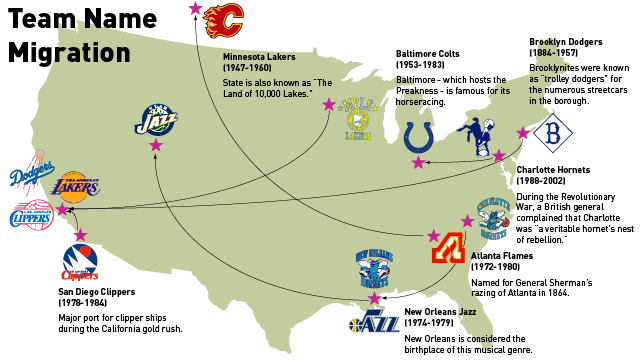 A Map Of The Most Absurd Team-Name Migrations In Sports