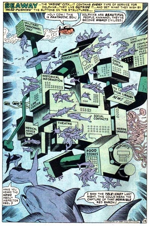 A map of Jack Kirby's sentient dolphin utopia