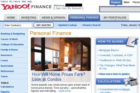 Yahoo launches personal finance site