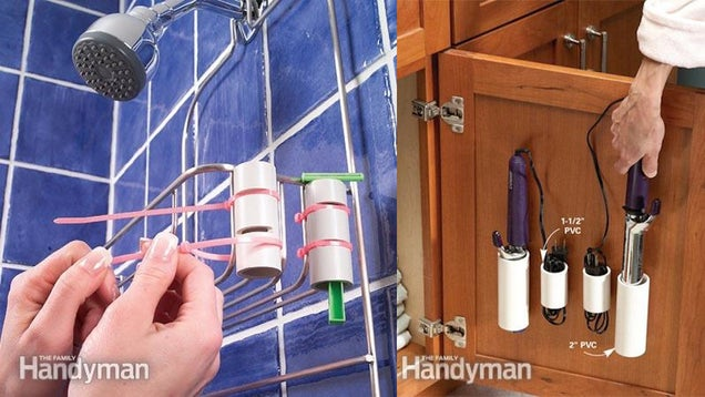 Use PVC to Add Storage in the Shower or the Back of Cabinet Doors