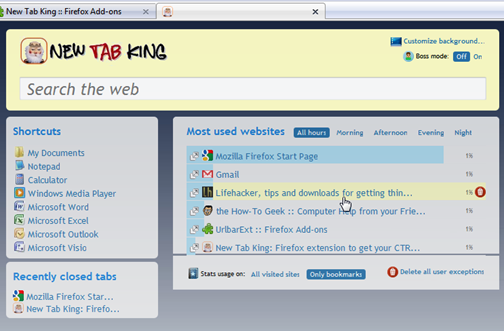 New Tab King Adds Recently Used Items to the New Tab Page