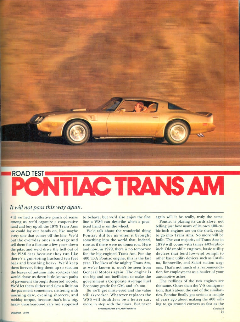A 70s review of the '79 Trans Am 400 4-speed