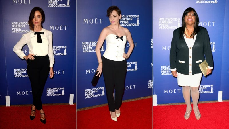 Bright Dresses and Bow Ties at the HFPA Banquet