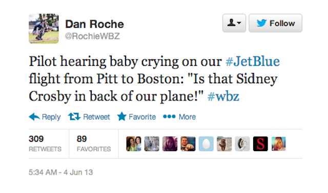 Boston Pilot Uses Crying Baby To Drop A Burn On Sidney Crosby