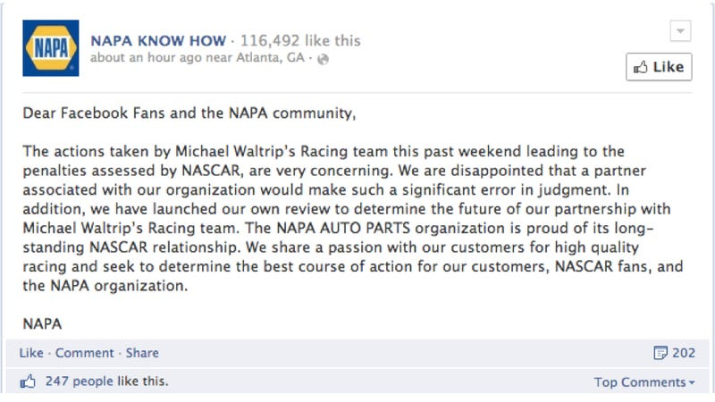 Sponsors Super Pissed At Michael Waltrip Racing For Rigged Race Scandal