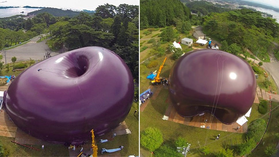 An inflatable concert hall inspired by giant plums for Inflatable concert hall