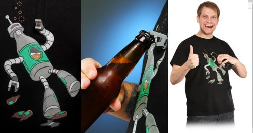 Yes, Someone Really Made A Robot Shirt With A Built-In Bottle Opener