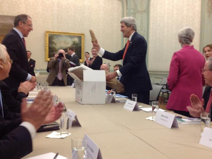 This Is John Kerry Giving the Russian Foreign Minister a Giant Potato