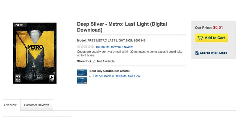 Right Now You Might Be Able To Buy Metro: Last Light For One Penny [UPDATE]
