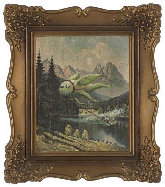 Spice up Goodwill paintings by adding monsters