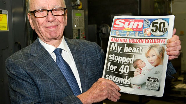 Proud Papa Rupert Murdoch Shows Off Brand New Tabloid