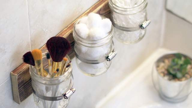 Free Up Bathroom Counter Space with Mounted Mason Jars