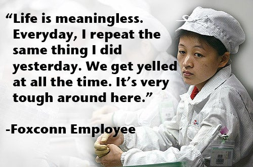 """Foxconn Employee: """"Life Is Meaningless"""""""