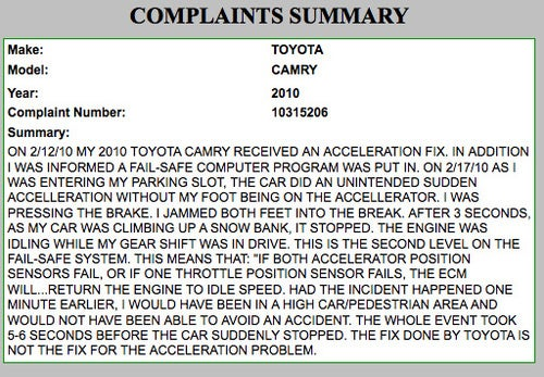 "Toyota Owners Filing Unintended Acceleration Complaints Over ""Fixed"" Vehicles"