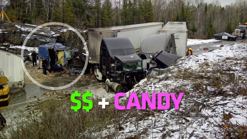Brinks Truck Spills $5 Million In Coins After Collision With Candy Truck