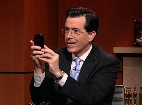 Colbert Twitters While Interviewing Co-Founder of Twitter, According to his Twitter