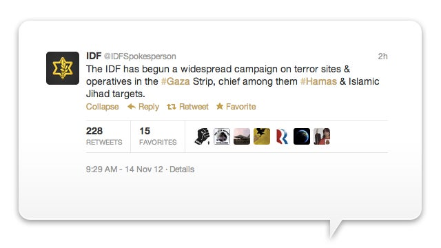 Israel Announces War Campaign via Twitter (Updated)