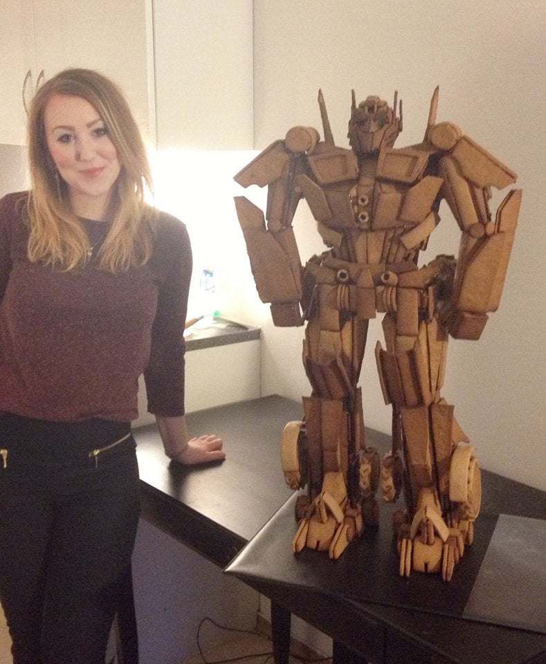 More than 700 pieces of gingerbread transformed into Optimus Prime