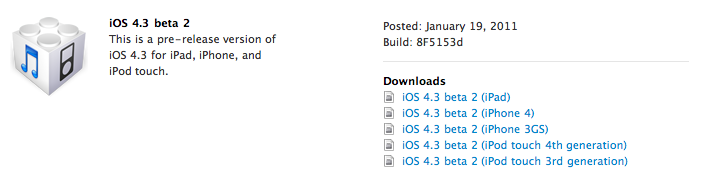 iOS 4.3 Beta 2 and New Pre-Release Apple TV Software Now Available to Apple Developers