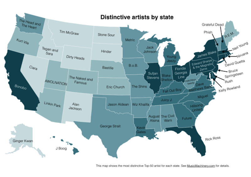 A map of music that's popular in your state—and only in your state
