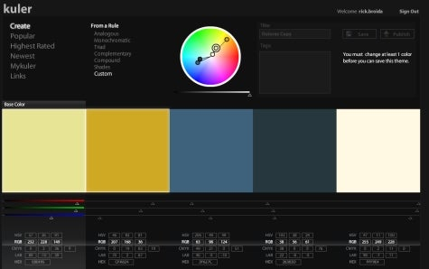 Create color themes with Adobe Kuler