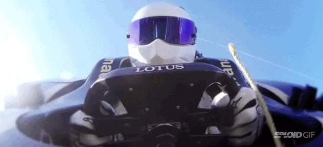 Bungee jumping in a F1 car seems like a crazy thing to do