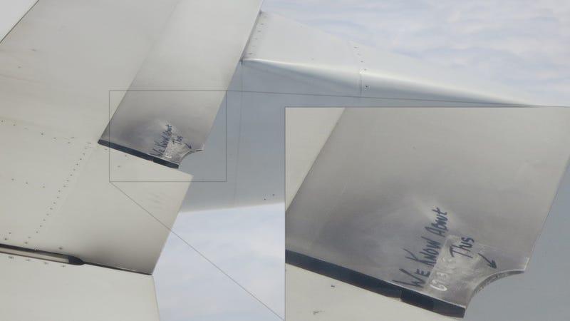Crazy Message Left On Broken Wing By Alaska Airlines' Maintenance Crew