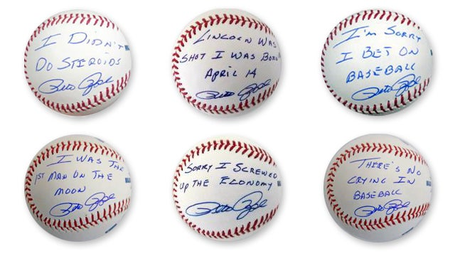 """I Was The First Man On The Moon"": Pete Rose Still Lying About Things On Autographed Baseballs"