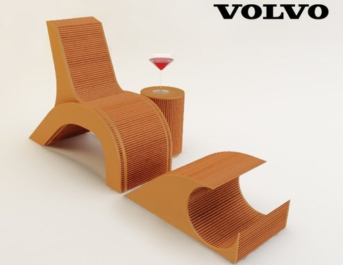 Sustainable Cardboard Chair Design Inspired By Volvo C30 Taillight
