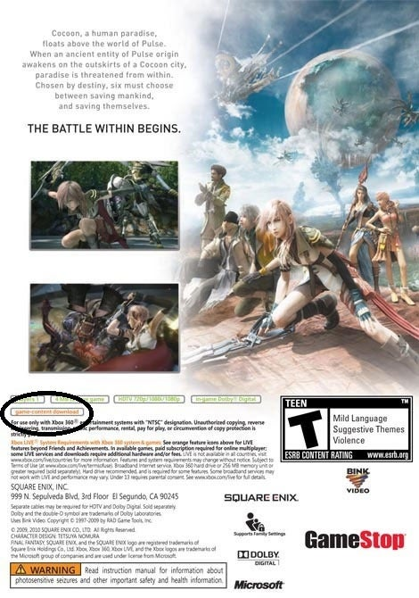 """Final Fantasy XIII Case Hints at """"Game-Content Download"""""""