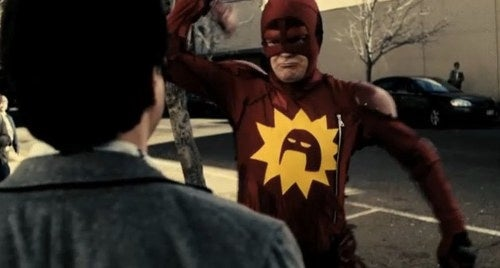 """Watch Dwight shove his superhero hammer right into your skull, in """"Super"""""""