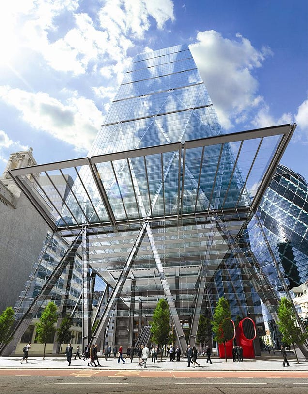 The angry review cheese grater graces london s commercial for Modern building canopy design