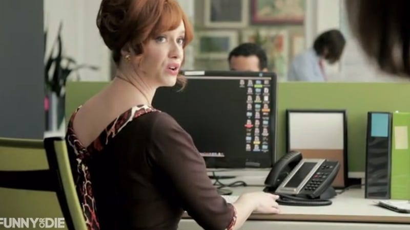Christina Hendricks Tries Working in a Modern Office and It's a Mess