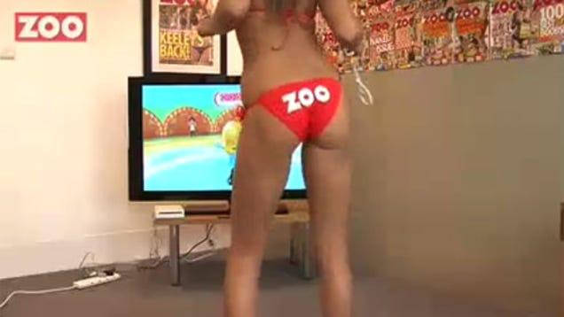 Naked girls playing wii