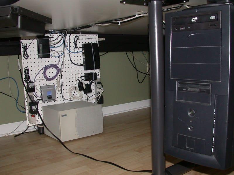 Under-desk pegboard gadget mount redux