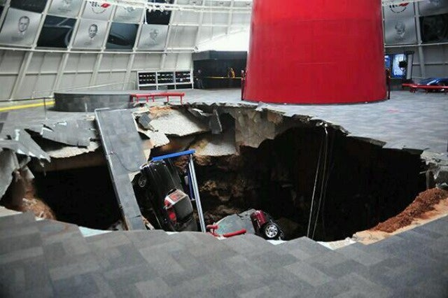 A Sinkhole Ate Eight Rare Corvettes This Morning