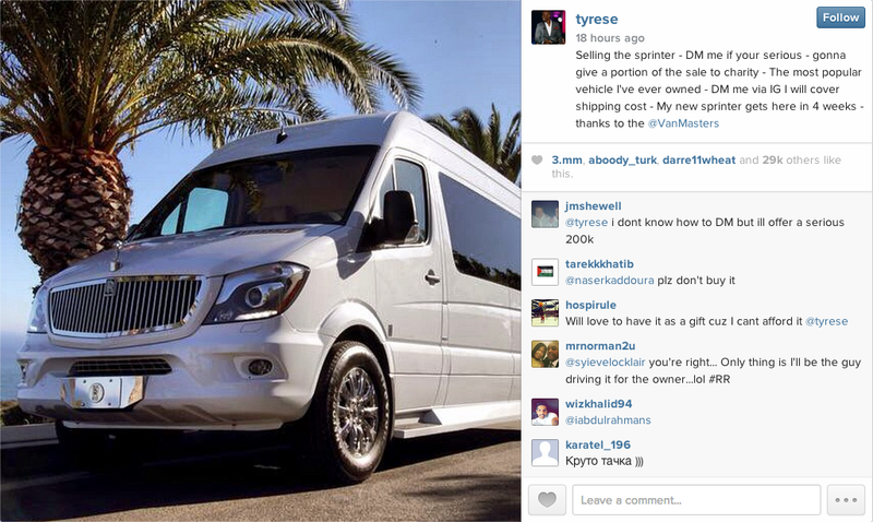 Tyrese Is Trying To Sell His Modified Sprinter Van On Instagram