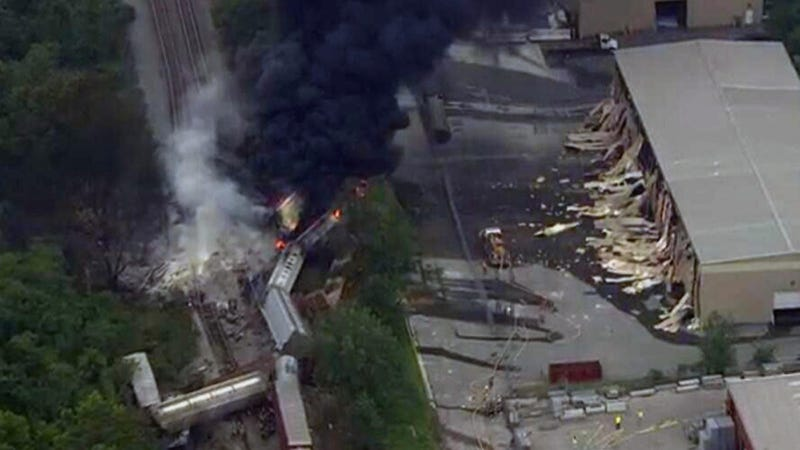 Explosion Rocks Baltimore Suburb After Train Crashes Into Truck