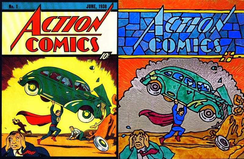 Classic comic book covers recreated in stained glass