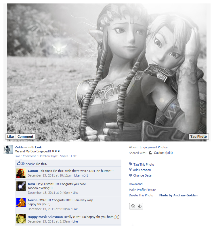 Game Characters Embarrassing Themselves on Facebook
