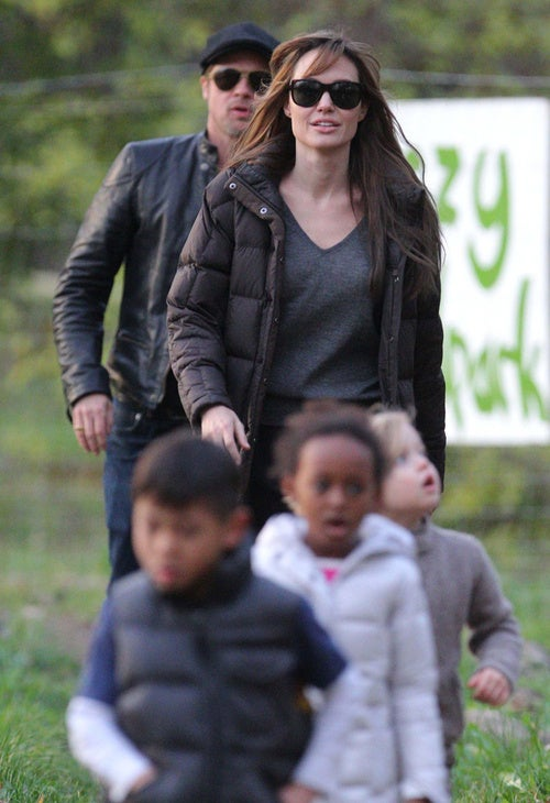 Brad, Angelina & The Kids Play Follow The Leader
