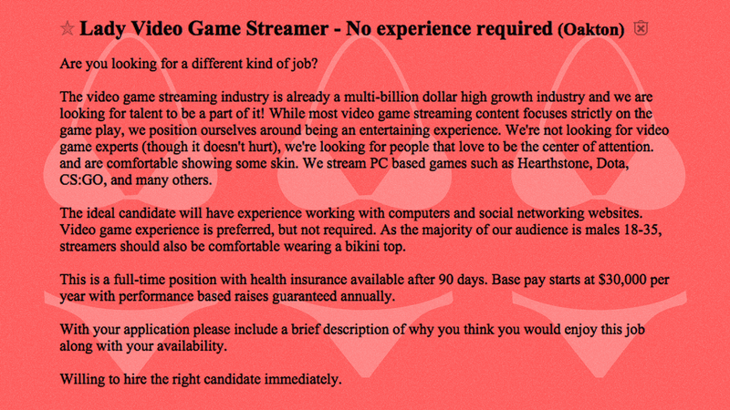 Unexpected Job Requirement For Video Game Streamers: 'Be Comfortable Wearing A Bikini Top'