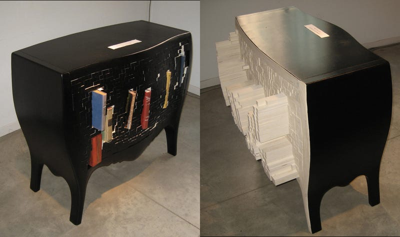 Push Books Into This Cabinet So the Wall Can Appreciate Its 3D Rear