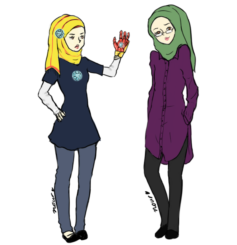 Hijab-Wearing Lady Draws Herself As Different Marvel Superheroes