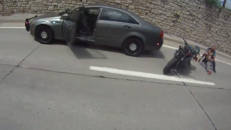 Slamming Into A Cop Car Is Not The Way To Do A Motorcycle Wheelie