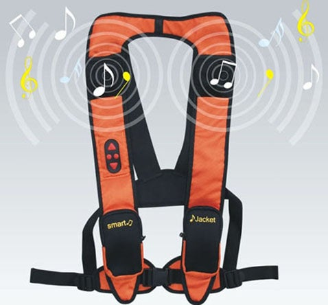 MP3 Jacket With Shoulder Speakers: May Double as a Life Preserver