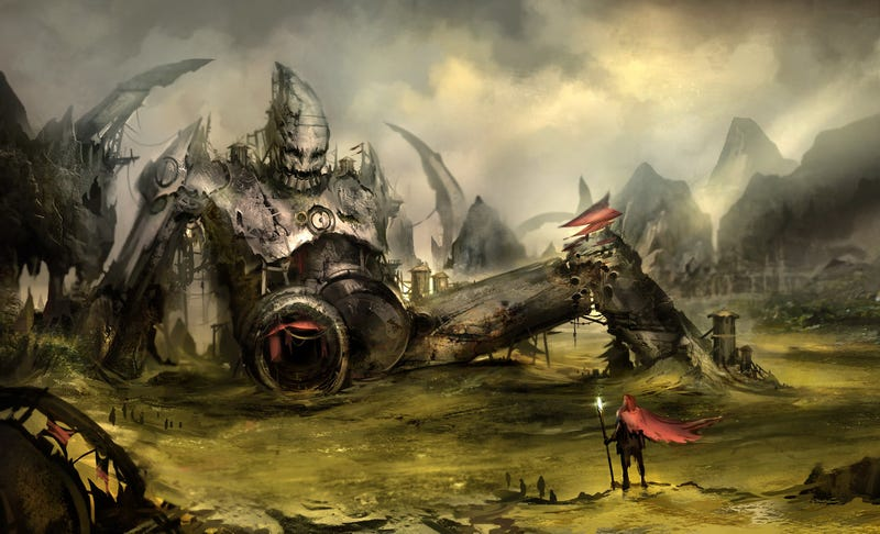 Concept Art Writing Prompt: The Mechanical Giant's Body Became a Town